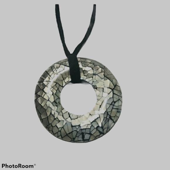 Lia Sophia Mosiac Donut Pendant & Black Su…